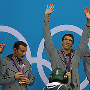 Michael Phelps, USA, with team mates Matthew Grevers, Brendan Hansen and Nathan Adrian winning the Gold Medal in the Men's 4 x 100m Medley Relay at the Aquatic Centre at Olympic Park, Stratford during the London 2012 Olympic games, London Olympics. London, UK. 4th August 2012. Photo Tim Clayton