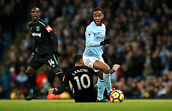 Manchester City's Raheem Sterling (centre) during the Premier League match at the Etihad Stadium, Manchester.