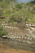 Graffiti at Tagus Cove, Isabella Island, Galapagos, Ecuador, South America