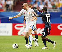 Photo: Chris Ratcliffe.<br /> USA v Czech Republic. Group E, FIFA World Cup 2006. 12/06/2006.<br /> Jan Koller of Czech Republic gets past DaMarcus Beasley of the USA.