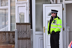 ©Licensed to London News Pictures; 06/10/2020, London UK; Met Police detectives launch an investigation in Reede road, Dagenham, East London after shots were fired at around 4 am this morning. Two people a male & female in their thirties were rushed to hospital: Photo credit, Steve Poston/LNP