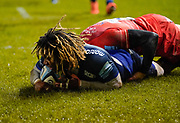Sale Sharks wing Marland Yarde dives over for his 3rd try during a Gallagher Premiership Rugby Union match Sale Sharks -V- Leicester Tigers, won by Sale 36-3 Friday, Feb. 21, 2020, in Eccles, United Kingdom. (Steve Flynn/Image of Sport via AP)