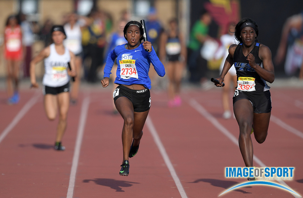 Apr 7, 2018; Arcadia, CA, USA; Tessa Green (2734) of Santa Margarita and Erefa Ewo (3397) of Westlake (GA) run the anchor leg on the girls seeded 4 x 100m relay during the 51st Arcadia Invitational at Arcadia High.