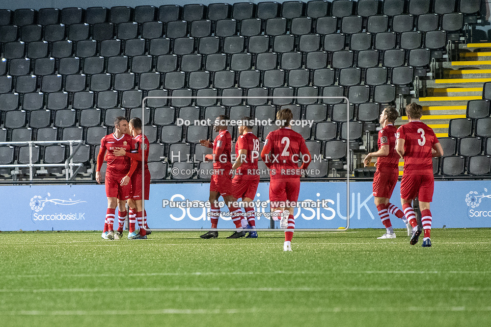BROMLEY, UK - JANUARY 15: Hornchurch celebrate opening the scoring during the BetVictor Isthmian Premier League match between Cray Wanderers and Hornchurch at Hayes Lane on January 15, 2020 in Bromley, UK. <br /> (Photo: Jon Hilliger)