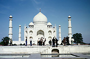 Indian male men tourists at the Taj Mahal site, Agra, India in 1964