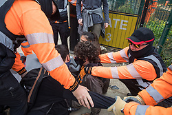 Harefield, UK. 12th September, 2020. Security guards working on behalf of HS2 forcibly restrain environmental activists acting in solidarity with HS2 Rebellion next to a gate providing access to a site for the HS2 high-speed rail link. Anti-HS2 activists continue to try to prevent or delay works on the controversial £106bn HS2 high-speed rail link in the Colne Valley where thousands of trees have already been felled.