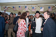 MAXWELL STIRLING, Charlie Gilkes and Duncan Stirling host Inception Group's Hamptons Garden party on the rooftop garden of the Ballymore marketing suite overlooking the site of the new US embassy. Embassy Gardens, London SW8.  12 July 2012.