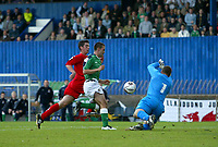 Photo: Andrew Unwin.<br />Northern Ireland v Wales. World Cup Qualifier.<br />08/10/2005.<br />Wales' Paul Jones (R) comes out to deny Northern Ireland's David Healy (C).