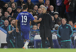 Diego Costa of Chelsea shakes hands with Chelsea Manager Jose Mourinho as he is substituted - Mandatory byline: Paul Terry/JMP - 09/12/2015 - Football - Stamford Bridge - London, England - Chelsea v FC Porto - Champions League - Group G