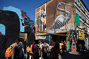 Street art by Roa in the Brick Lane area of Shoreditch, East London, United Kingdom. Street art in the East End of London is an ever changing visual enigma, as the artworks constantly change, as councils clean some walls or new works go up in place of others. While some consider this vandalism or graffiti, these artworks are very popular among local people and visitors alike, as a sense of poignancy remains in the work, many of which have subtle messages. (photo by Mike Kemp/In Pictures via Getty Images)