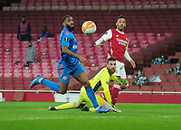 Football - 2020 / 201 UEFA Europa League - Round 16 - Second Leg - Arsenal vs Olympiakos - Emirates Stadium<br /> <br /> Pierre - Emerick Aubameyang of Arsenal chips the nall over goalkeeper, Jose Sa, only to miss the goal<br /> <br /> <br /> Credit : COLORSPORT/ANDREW COWIE