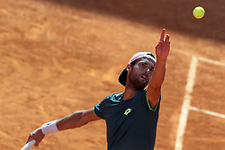 May 6, 2018 - Estoril, Portugal - Joao Sousa of Portugal serves a ball to Frances Tiafoe of US during the Millennium Estoril Open ATP 250 tennis tournament final, at the Clube de Tenis do Estoril in Estoril, Portugal on May 6, 2018. (Joao Sousa won 2-0) (Credit Image: © Pedro Fiuza/NurPhoto via ZUMA Press)
