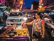 10 JANUARY 2014 - BANGKOK, THAILAND:  A juice vendor on Yaowarat Road in the Chinatown section of Bangkok.     PHOTO BY JACK KURTZ