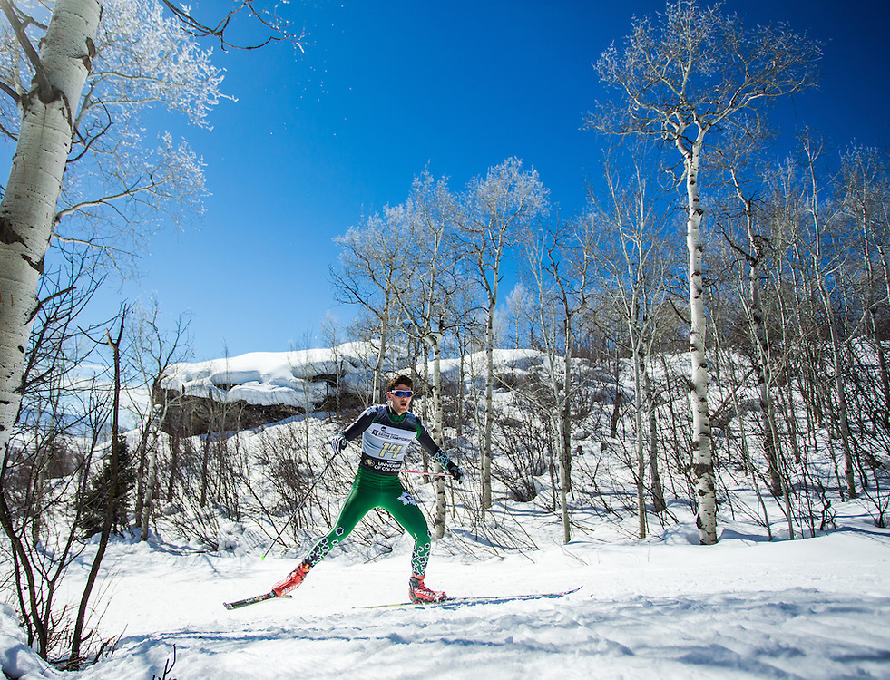 Oscar Friedman of Dartmouth College, during the NCAA Skiing Championships Freestyle Interval Start on Thursday March 10, 2016 at Steamboat, CO. (Dustin Satloff)