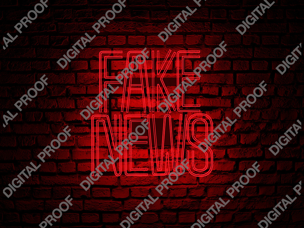 Fake News Neon Sign red color over a red brick wall at dark - Illustration Computer Rendered - Illustration