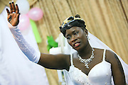 """Wedding of Refugees who escaped separately from Sudan and reunited in Israel, takes place at the """"Lift Up Your Head"""" church in South Tel Aviv. The Bride"""