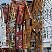 Europe, Norway, Bergen. Warehouse architecture of Bryggen, a UNESCO World Heritage Site.
