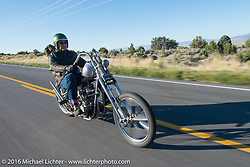 Bill Buckingham riding his 1923 Harley-Davidson J model custom chopper (that won top honors at Born Free 6) during stage 12 (299 m) of the Motorcycle Cannonball Cross-Country Endurance Run, which on this day ran from Springville, UT to Elko, NV, USA. Wednesday, September 17, 2014.  Photography ©2014 Michael Lichter.