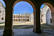 A secondary courtyard at the fading Hacienda de Jaral de Berrio in Jaral de Berrios, Guanajuato, Mexico. The abandoned Jaral de Berrio hacienda was once the largest in Mexico and housed over 6,000 people on the property and is credited with creating Mescal.