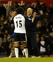 Photo: Chris Ratcliffe.<br />Tottenham Hotspur v Sunderland. The Barclays Premiership. 03/12/2005.<br />Goalscorer Mido (L) celebrates with Martin Jol