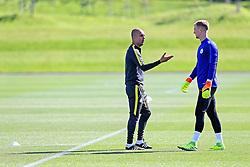 Manchester City manager Josep Guardiola talks with goalkeeper Joe Hart - Mandatory by-line: Matt McNulty/JMP - 23/08/2016 - FOOTBALL - Manchester City - Training session ahead of Champions League qualifier against Steaua Bucharest