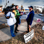 A red light camera protester gets interviewed by Channel 4 news in Kansas City.