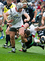 Rugby Union - 2016 / 2017 Guinness Pro12 - Ospreys vs. Ulster<br /> <br /> Luke Marshall tackled by Tom Habberfield  of Ospreys , at Liberty Stadium.<br /> <br /> COLORSPORT/WINSTON BYNORTH
