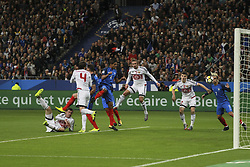 October 10, 2017 - Paris, France - France's defender Raphael Varane heads the ball during the FIFA World Cup 2018 qualification football match between France and Belarus at the Stade de France in Saint-Denis, north of Paris, on October 10, 2017. (Credit Image: © Elyxandro Cegarra/NurPhoto via ZUMA Press)