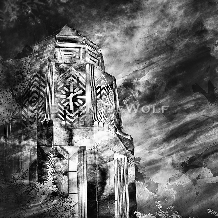 An abstract rendering of the city of St. Charles, Illinois clock tower.   Aspect Ratio 1w x 1h. rendering of the city of St. Charles, Illinois clock tower.   Aspect Ratio 1w x 1h.