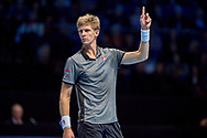 Kevin Anderson of South Africa challenges a call during the Nitto ATP World Tour Finals at the O2 Arena, London, United Kingdom on 13 November 2018.Photo by Martin Cole