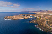 Aerial view of a coastal village in Canary island archipelago, Spain.