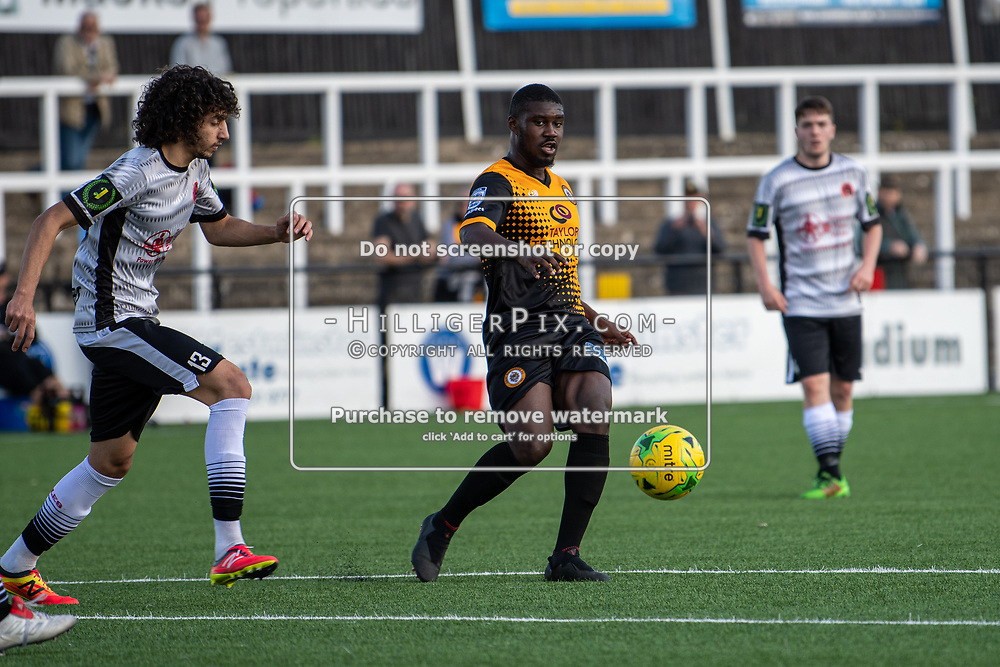 BROMLEY, UK - SEPTEMBER 08: Ben Mundelle, of Cray Wanderers FC, plays a through ball into the box during the Emirates FA Cup First Qualifying Round match between Cray Wanderers FC and Bedfont Sports Club at Hayes Lane on September 8, 2019 in Bromley, UK. <br /> (Photo: Jon Hilliger)