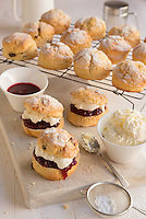 A British classic the Cream and Jam Scones. Shot for website and marketing materials for a cake company.<br /> Food Photography
