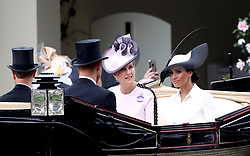 The Duke and Duchess of Sussex and Sophie the Countess of Wessex (centre) during day one of Royal Ascot at Ascot Racecourse