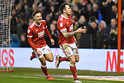 Nottingham Forest midfielder Matty Cash (14) and Nottingham Forest forward Lee Tomlin (15) celebrates after scoring a goal to make it 1-1 during the EFL Sky Bet Championship match between Nottingham Forest and Reading at the City Ground, Nottingham, England on 20 February 2018. Picture by Jon Hobley.