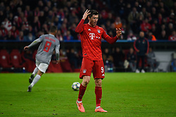 November 6, 2019, Munich, Germany: Robert Lewandowski from Bayern reacts during the UEFA Champions League group B match between Bayern and Olympiacos at Allianz Arena in Munich. (Credit Image: © Bruno De Carvalho/SOPA Images via ZUMA Wire)