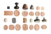 Ancient Canaanite and Egyptian Seals on white 2-1st millennium BCE