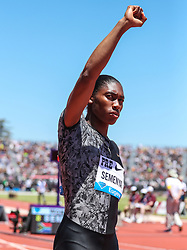Caster Semenya, South Africa, introduction at start before she wins womens 800 meters in 1:55.70 (new meet record) at 2019 The Prefontaine Classic Track & Field<br /> IAAF Diamond League