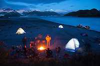 "Rafting camp on Alsek Lake while on a  raft trip down the Tashenshini River. The ""Tat"" flows out of Yukon, CA, through British Columbia and empties into Glacier Bay National Park in Alaska, US."