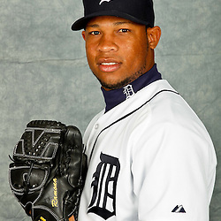 February 28, 2012; Lakeland, FL, USA; Detroit Tigers relief pitcher Luis Marte (49) poses for photo day in the rec room at the Detroit Tigers Headquarters.  Mandatory Credit: Derick E. Hingle-US PRESSWIRE