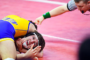 Burke/Gregory's Frank Even struggles to get out of a hold in the class B-152 state wrestling semifinals on Friday, Feb. 28, 2020, at the Denny Sanford Premier Center in Sioux Falls.
