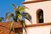 Detail of Bell tower and palms at the Santa Barbara Mission (Queen of the missions), Santa Barbara, California