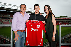 Bristol City 's new signing Callum O'Dowda poses with his parents at Ashton Gate ahead of the 2016/17 Sky Bet Championship Campaign - Mandatory byline: Rogan Thomson/JMP - 13/07/2016 - FOOTBALL - Ashton Gate Stadium - Bristol, England - Bristol City New Signings.
