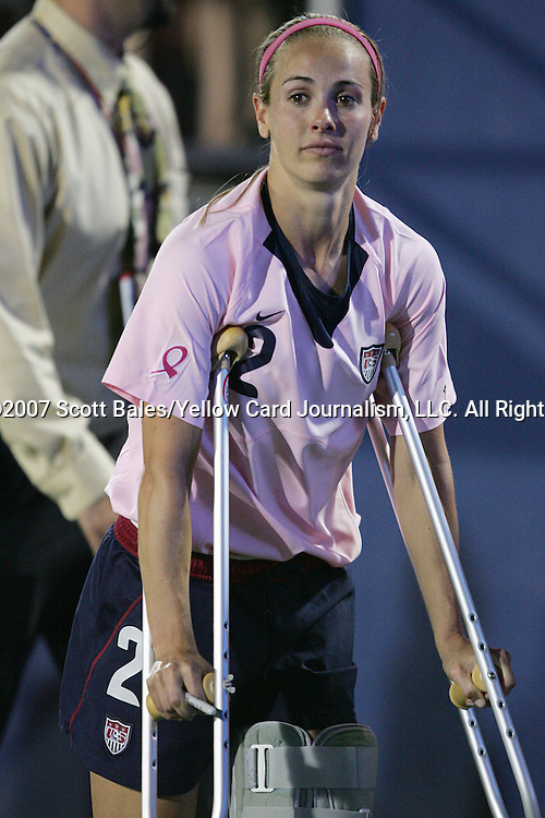 12 May 2007: United States defender Heather Mitts departs the field on crutches, after being forced to leave the game in the 27th minute due to a left leg injury. The United States Women's National Team defeated the Women's National Team of Canada 6-2 at Pizza Hut Park in Frisco, Texas in an international friendly game.