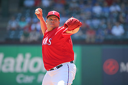 May 9, 2018 - Arlington, TX, U.S. - ARLINGTON, TX - MAY 09: Texas Rangers pitcher Bartolo Colon (40) delivers a pitch during the game between the Detroit Tigers and the Texas Rangers on May 9, 2018 at Globe Life Park in Arlington, TX. (Photo by George Walker/Icon Sportswire) (Credit Image: © George Walker/Icon SMI via ZUMA Press)