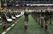 ATLANTA, GA - DECEMBER 31:  Members of the Texas A&M Aggies marching band play before the Chick-fil-A Bowl game between the Texas A&M Aggies and the Duke Blue Devils at the Georgia Dome on December 31, 2013 in Atlanta, Georgia.  (Photo by Mike Zarrilli/Getty Images)