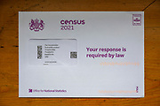 Census 2021 letter envelope from above, UK