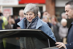 © Licensed to London News Pictures. 04/03/2019. Salisbury, UK. Prime Minister Theresa May visits Salisbury on the first anniversary of the poisoning of former Russian spy Sergei Skripal and his daughter Yulia in March 2018. They both survived the nerve agent attack but a resident of nearby Amesbury, Dawn Sturgess, died in June 2018 after coming in contact with the poison. Two Russians have been named in connection with the attack. Photo credit: Peter Macdiarmid/LNP