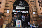 Local campaigners protest the closure by Lambeth council on the front steps of Carnegie Library, Herne Hill, south London, on 1st April 2016. The angry local community in the south London borough have occupied their important resource for learning and social hub. After a long campaign by locals, Lambeth have gone ahead closed the library's doors for the last time the day before, because they say, cuts to their budget mean millions must be saved. A gym will replace the working library and while some of the 20,000 books on shelves will remain, no librarians will be present to administer it. London borough's budget cuts mean four of its 10 libraries will either close, move or be run by volunteers.