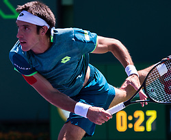 March 22, 2018 - Miami, Florida, United States - Leonardo Mayer, fom Argentina, in action against Donald Young, from the US during his first round match at the Miami Open on March 23, 2018 in Key Biscayne, Florida. Mayer defeated Young 3-6, 6-4, 6-2 (Credit Image: © Manuel Mazzanti/NurPhoto via ZUMA Press)